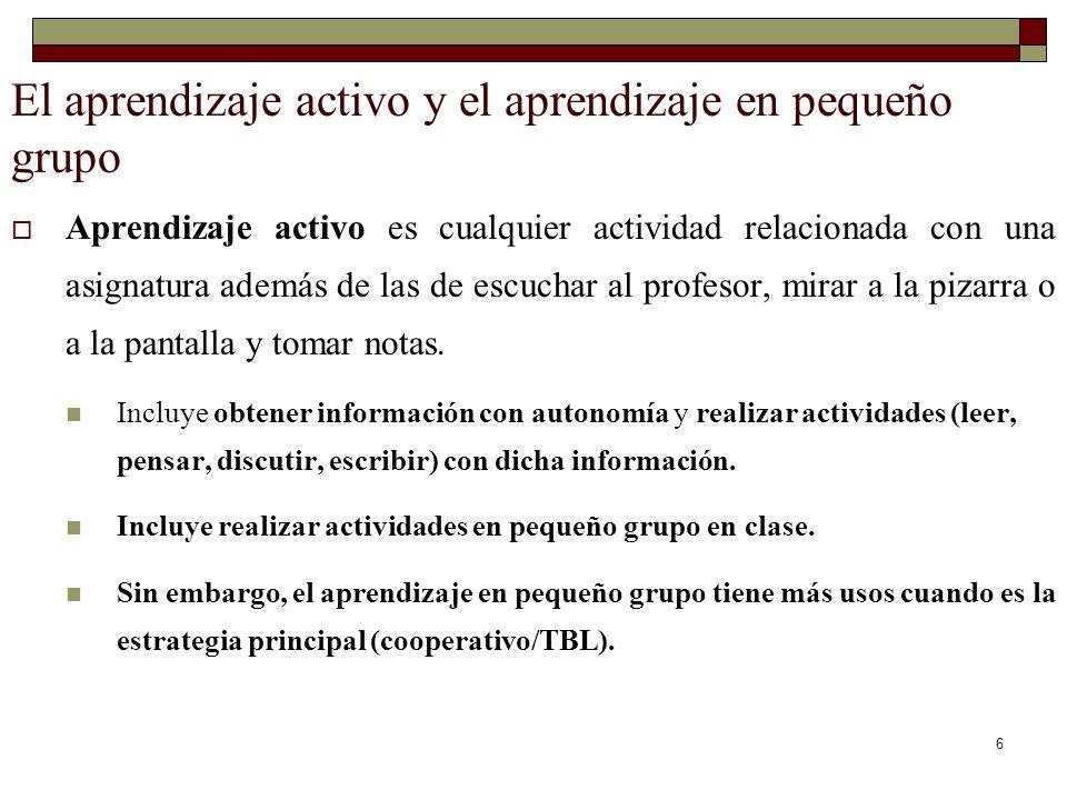 6 El aprendizaje activo y el aprendizaje en pequeño grupo Aprendizaje activo es cualquier actividad relacionada con una asignatura además de las de es