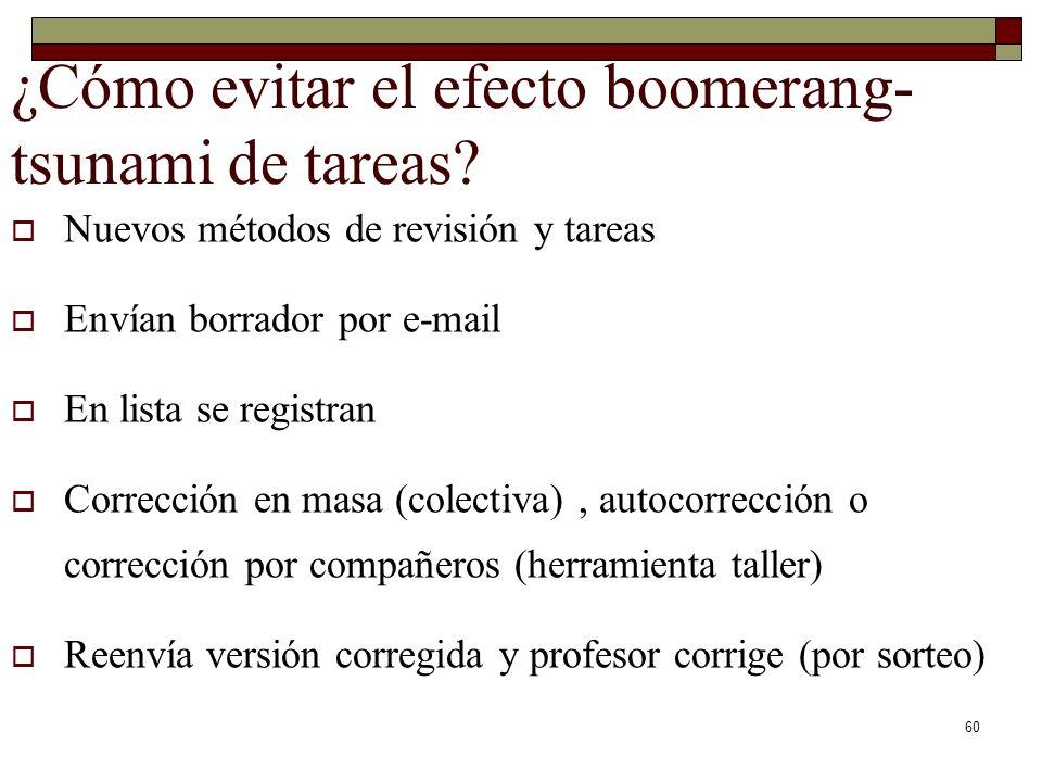 ¿Cómo evitar el efecto boomerang- tsunami de tareas? Nuevos métodos de revisión y tareas Envían borrador por e-mail En lista se registran Corrección e