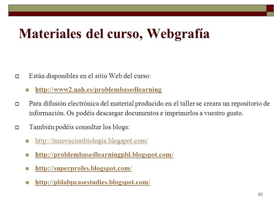63 Materiales del curso, Webgrafía Están disponibles en el sitio Web del curso: http://www2.uah.es/problembasedlearning Para difusión electrónica del