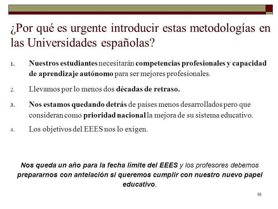 66 ¿Por qué es urgente introducir estas metodologías en las Universidades españolas? 1. Nuestros estudiantes necesitarán competencias profesionales y