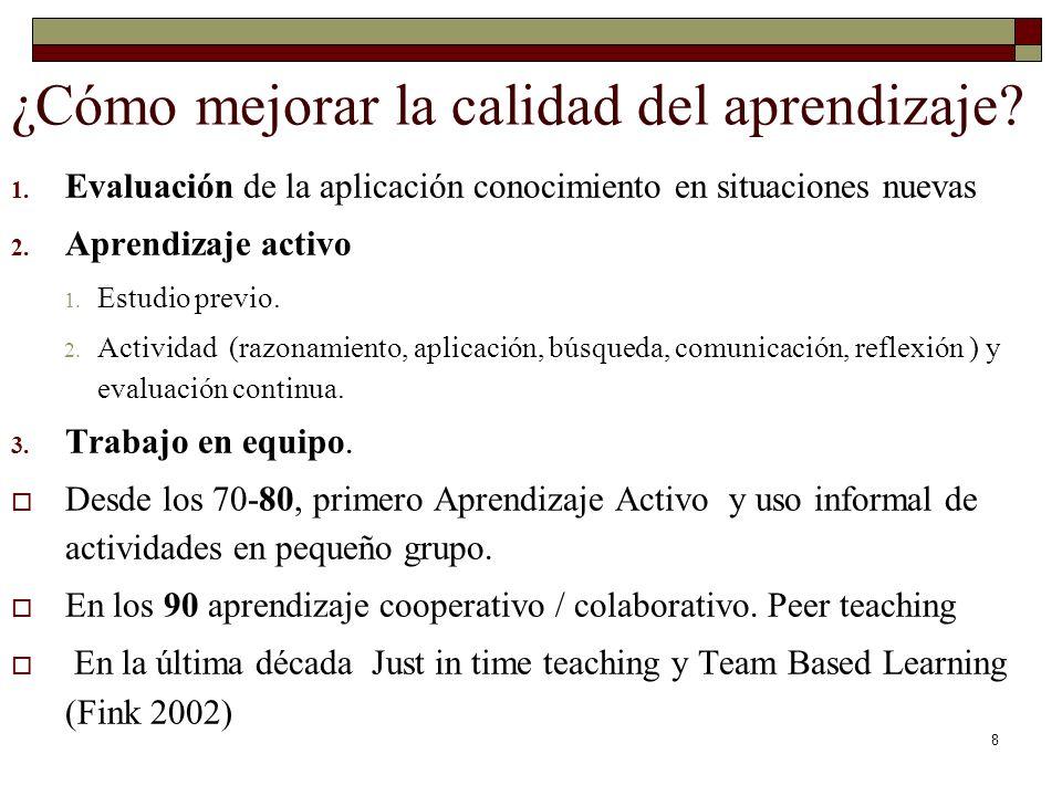 8 ¿Cómo mejorar la calidad del aprendizaje? 1. Evaluación de la aplicación conocimiento en situaciones nuevas 2. Aprendizaje activo 1. Estudio previo.