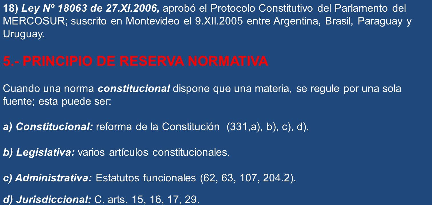 18) Ley Nº 18063 de 27.XI.2006, aprobó el Protocolo Constitutivo del Parlamento del MERCOSUR; suscrito en Montevideo el 9.XII.2005 entre Argentina, Br