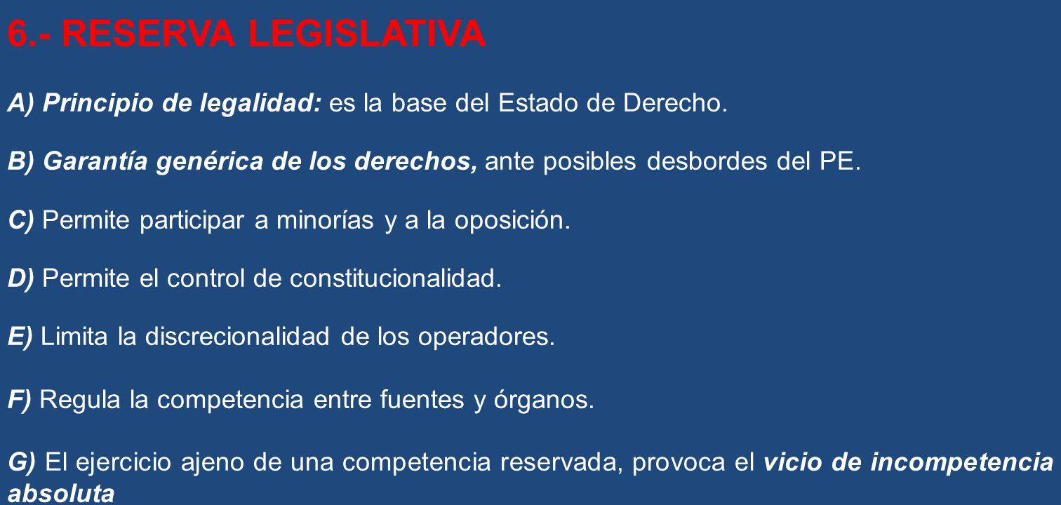 6.- RESERVA LEGISLATIVA A) Principio de legalidad: es la base del Estado de Derecho. B) Garantía genérica de los derechos, ante posibles desbordes del