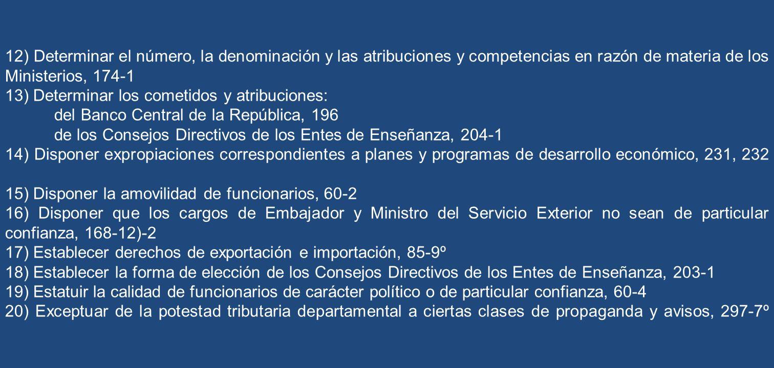 12) Determinar el número, la denominación y las atribuciones y competencias en razón de materia de los Ministerios, 174-1 13) Determinar los cometidos