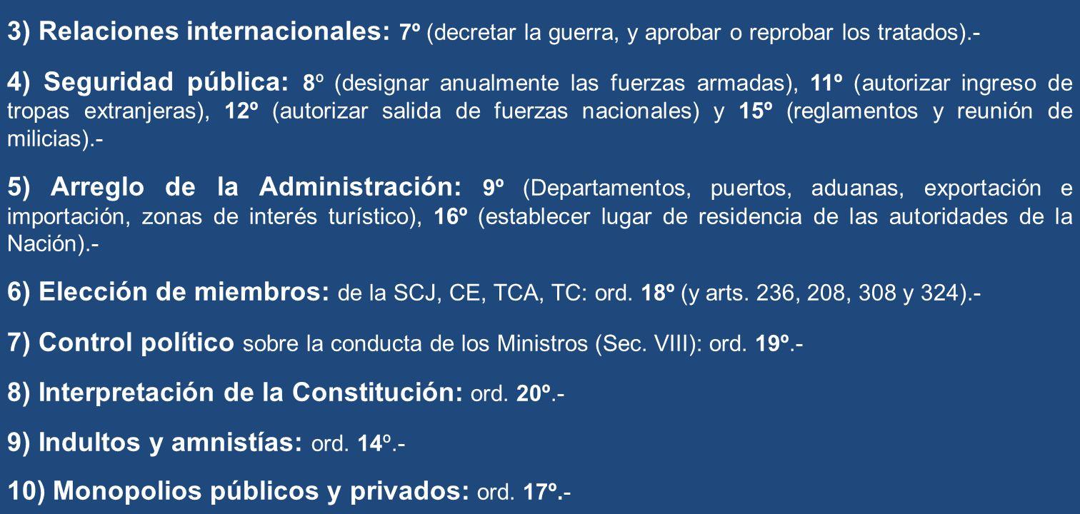 3) Relaciones internacionales: 7º (decretar la guerra, y aprobar o reprobar los tratados).- 4) Seguridad pública: 8º (designar anualmente las fuerzas