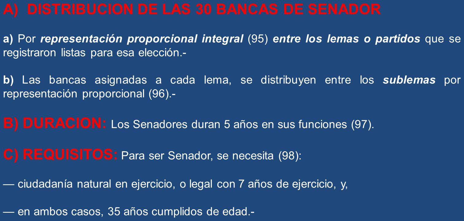 A) DISTRIBUCION DE LAS 30 BANCAS DE SENADOR a) Por representación proporcional integral (95) entre los lemas o partidos que se registraron listas para
