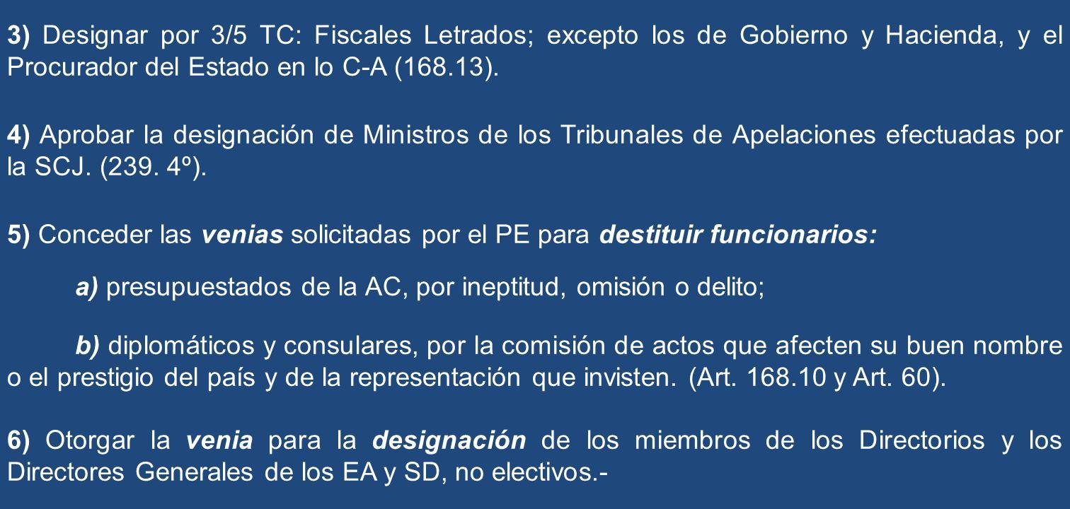 3) Designar por 3/5 TC: Fiscales Letrados; excepto los de Gobierno y Hacienda, y el Procurador del Estado en lo C-A (168.13). 4) Aprobar la designació