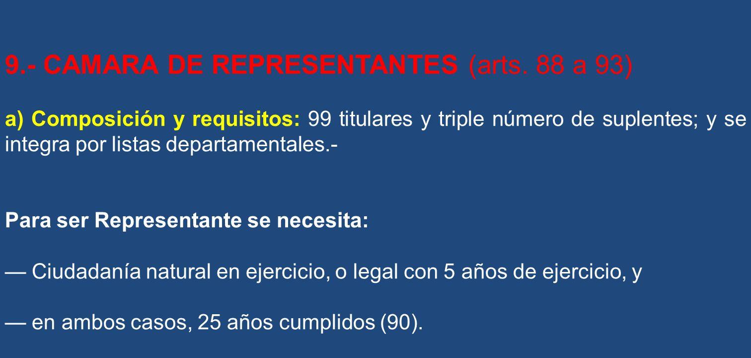 9.- CAMARA DE REPRESENTANTES (arts. 88 a 93) a) Composición y requisitos: 99 titulares y triple número de suplentes; y se integra por listas departame