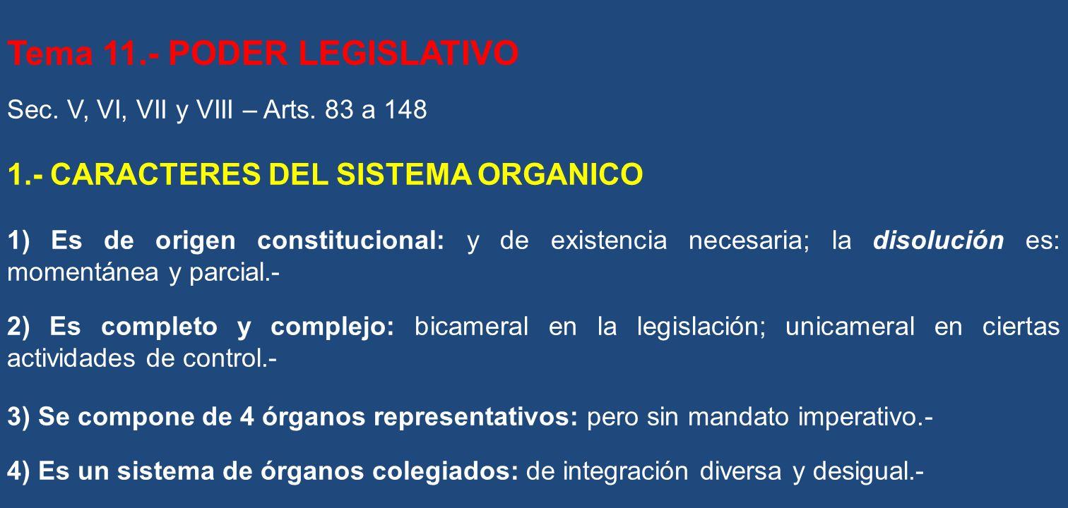 Tema 11.- PODER LEGISLATIVO Sec. V, VI, VII y VIII – Arts. 83 a 148 1.- CARACTERES DEL SISTEMA ORGANICO 1) Es de origen constitucional: y de existenci
