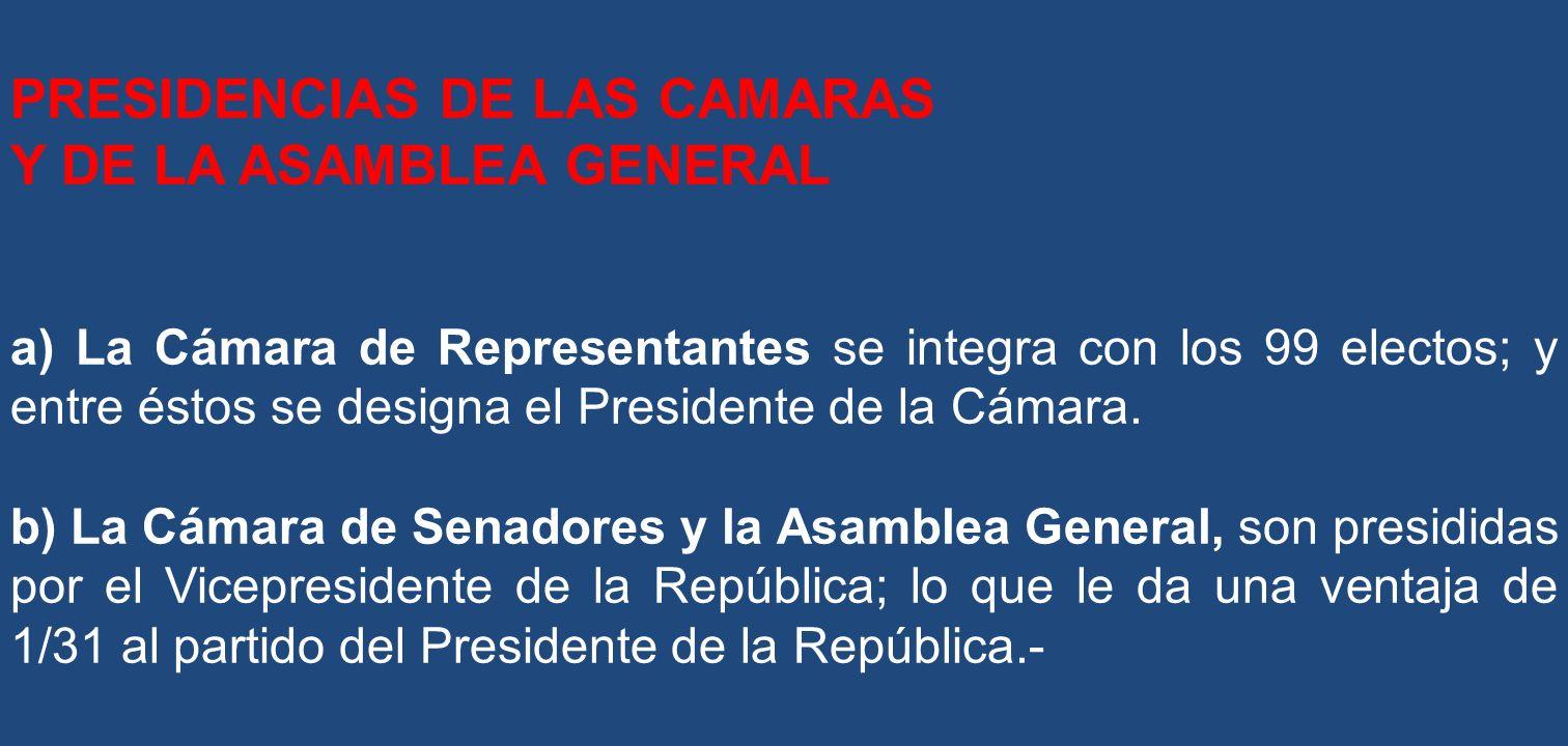 PRESIDENCIAS DE LAS CAMARAS Y DE LA ASAMBLEA GENERAL a) La Cámara de Representantes se integra con los 99 electos; y entre éstos se designa el Preside