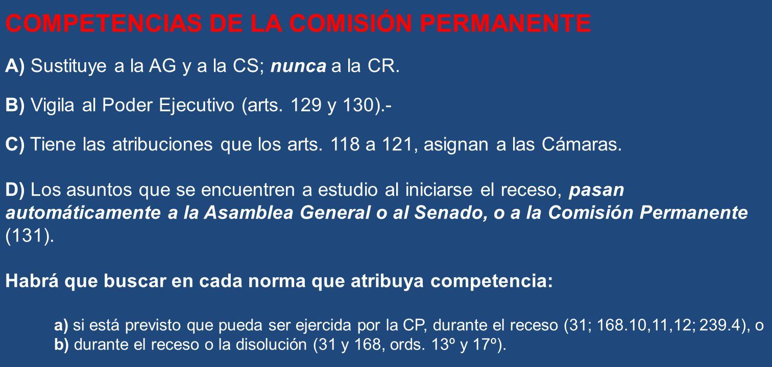 COMPETENCIAS DE LA COMISIÓN PERMANENTE A) Sustituye a la AG y a la CS; nunca a la CR. B) Vigila al Poder Ejecutivo (arts. 129 y 130).- C) Tiene las at