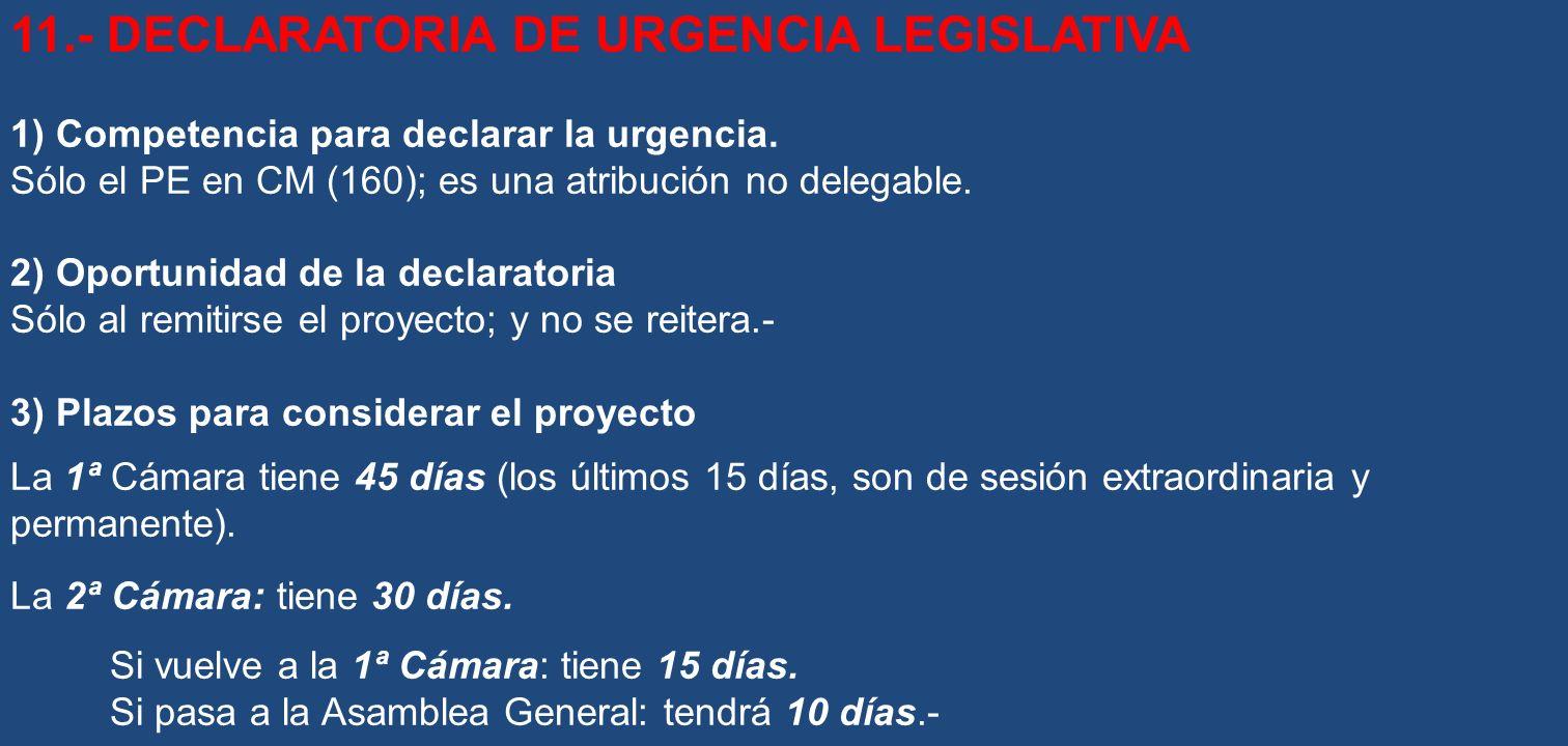 11.- DECLARATORIA DE URGENCIA LEGISLATIVA 1) Competencia para declarar la urgencia. Sólo el PE en CM (160); es una atribución no delegable. 2) Oportun