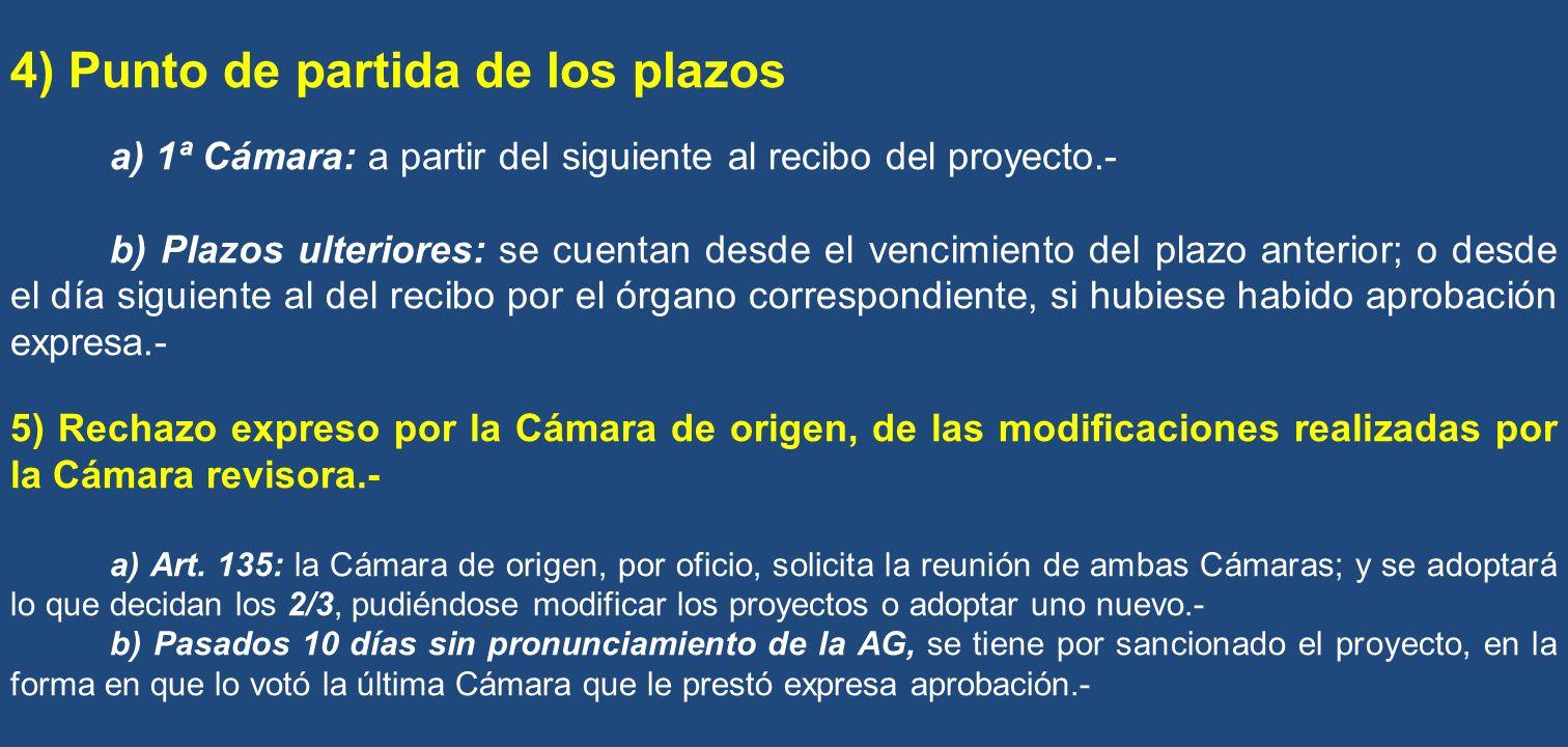 4) Punto de partida de los plazos a) 1ª Cámara: a partir del siguiente al recibo del proyecto.- b) Plazos ulteriores: se cuentan desde el vencimiento