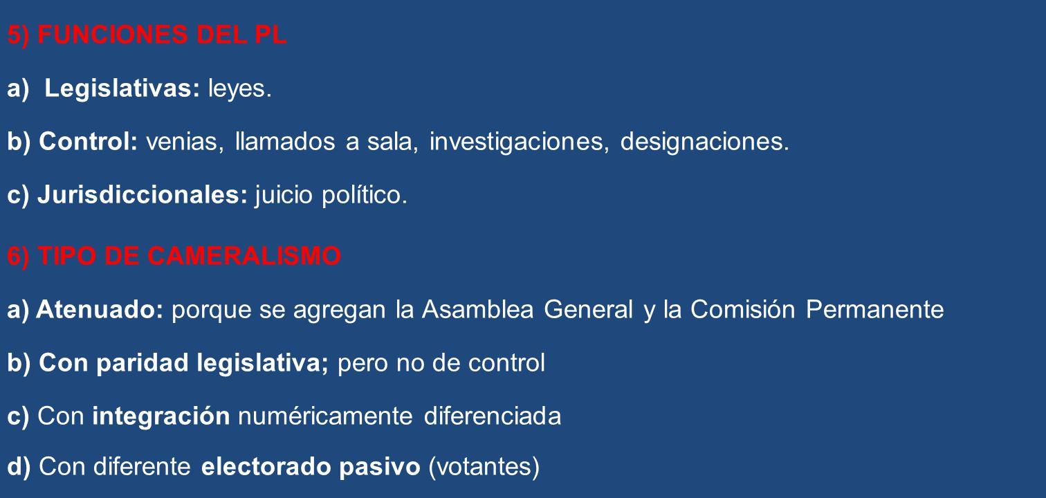 5) FUNCIONES DEL PL a) Legislativas: leyes. b) Control: venias, llamados a sala, investigaciones, designaciones. c) Jurisdiccionales: juicio político.