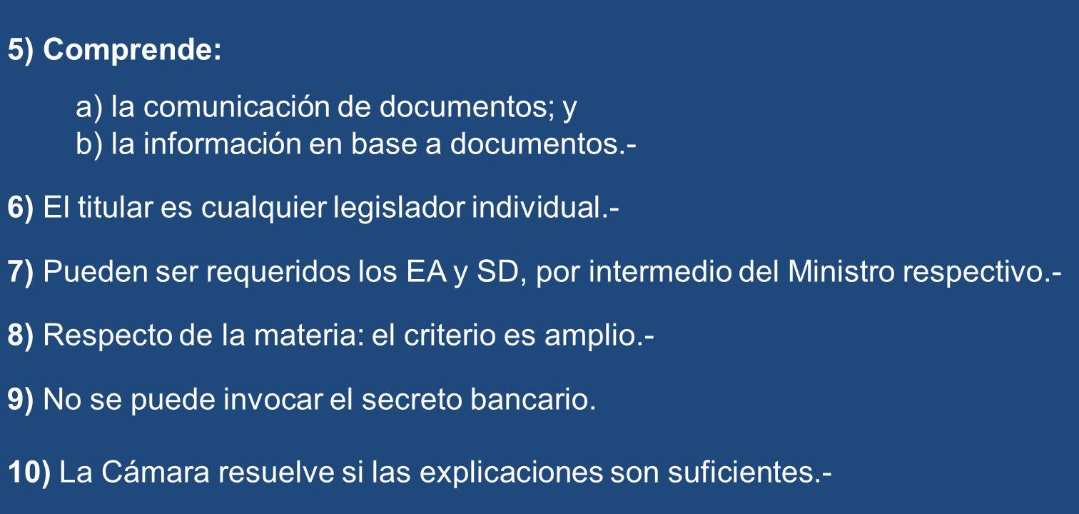 5) Comprende: a) la comunicación de documentos; y b) la información en base a documentos.- 6) El titular es cualquier legislador individual.- 7) Puede