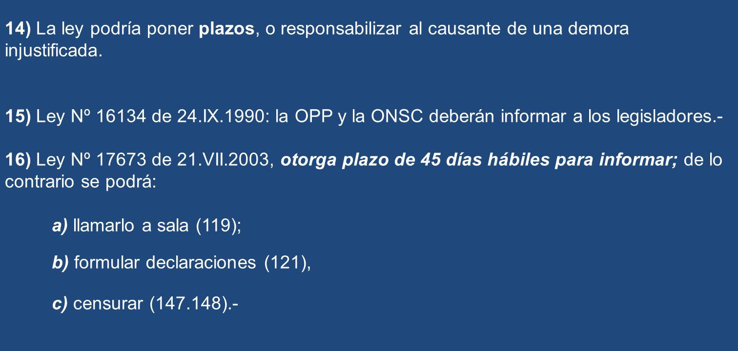 14) La ley podría poner plazos, o responsabilizar al causante de una demora injustificada. 15) Ley Nº 16134 de 24.IX.1990: la OPP y la ONSC deberán in