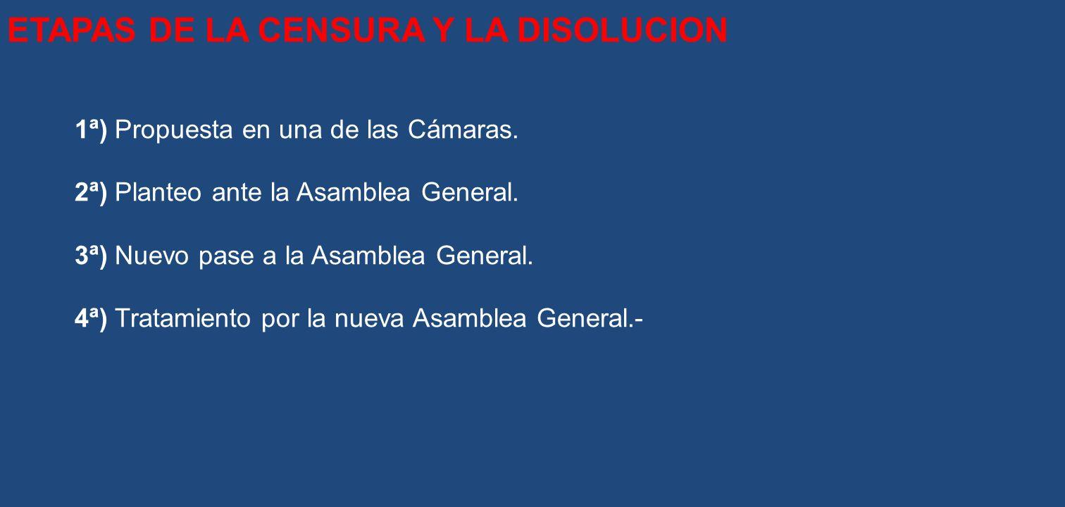 ETAPAS DE LA CENSURA Y LA DISOLUCION 1ª) Propuesta en una de las Cámaras. 2ª) Planteo ante la Asamblea General. 3ª) Nuevo pase a la Asamblea General.