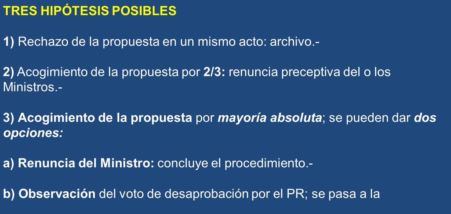 TRES HIPÓTESIS POSIBLES 1) Rechazo de la propuesta en un mismo acto: archivo.- 2) Acogimiento de la propuesta por 2/3: renuncia preceptiva del o los M