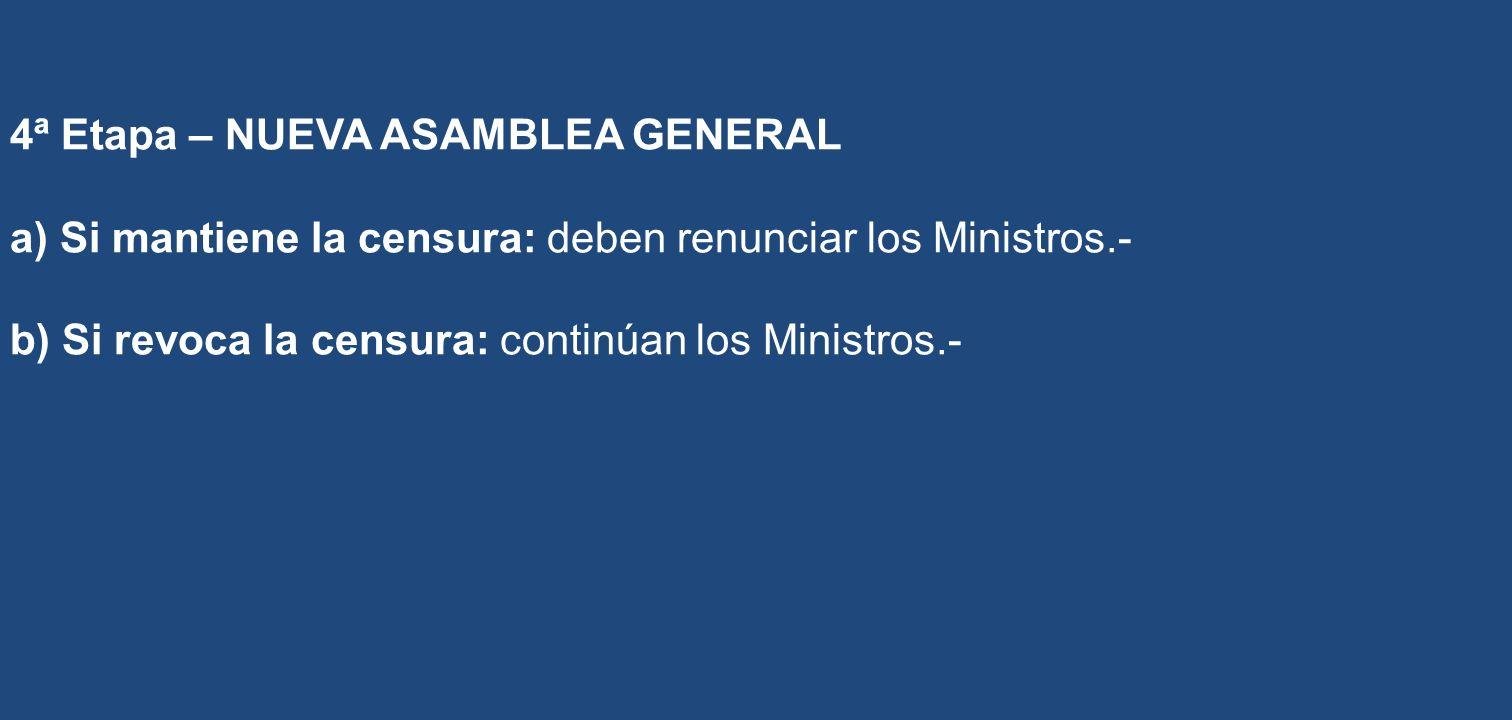 4ª Etapa – NUEVA ASAMBLEA GENERAL a) Si mantiene la censura: deben renunciar los Ministros.- b) Si revoca la censura: continúan los Ministros.-