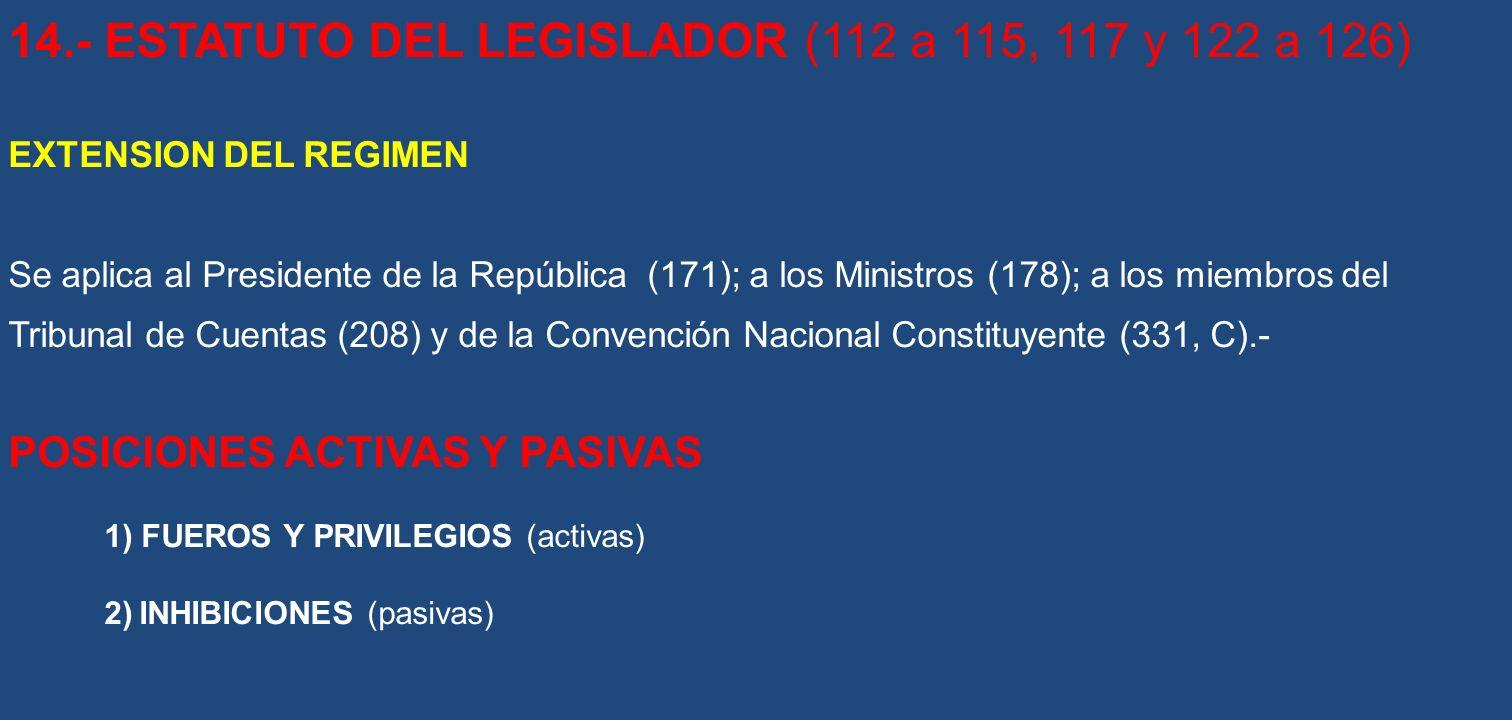 14.- ESTATUTO DEL LEGISLADOR (112 a 115, 117 y 122 a 126) EXTENSION DEL REGIMEN Se aplica al Presidente de la República (171); a los Ministros (178);