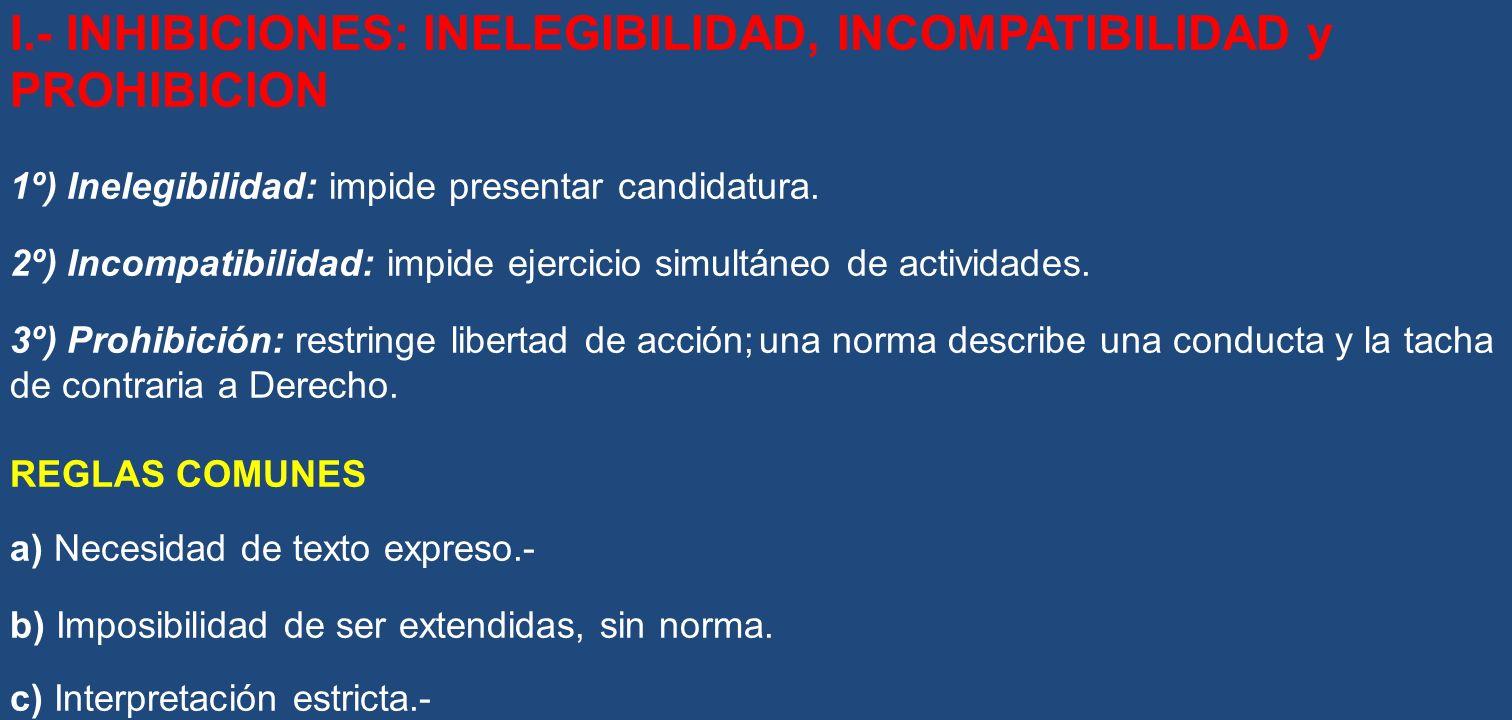 I.- INHIBICIONES: INELEGIBILIDAD, INCOMPATIBILIDAD y PROHIBICION 1º) Inelegibilidad: impide presentar candidatura. 2º) Incompatibilidad: impide ejerci