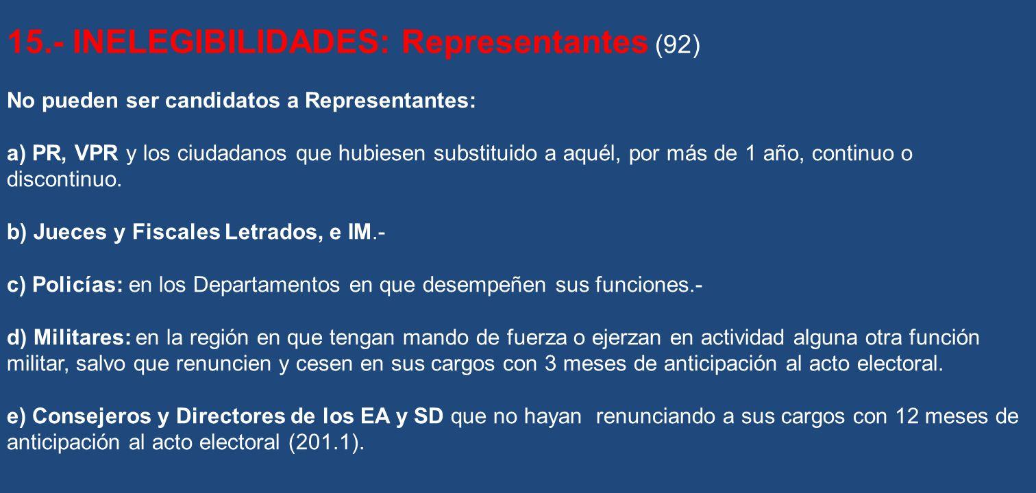 15.- INELEGIBILIDADES: Representantes (92) No pueden ser candidatos a Representantes: a) PR, VPR y los ciudadanos que hubiesen substituido a aquél, po