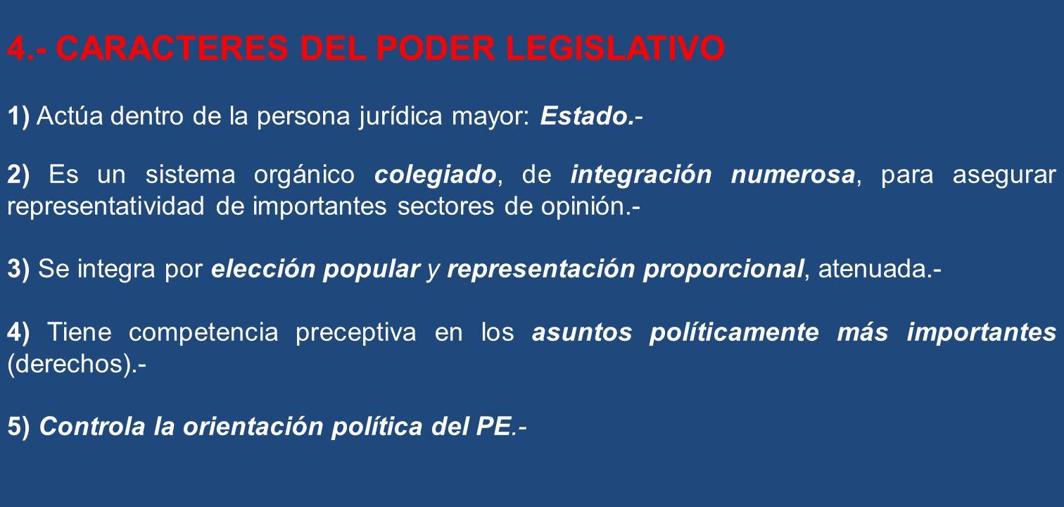 4.- CARACTERES DEL PODER LEGISLATIVO 1) Actúa dentro de la persona jurídica mayor: Estado.- 2) Es un sistema orgánico colegiado, de integración numero