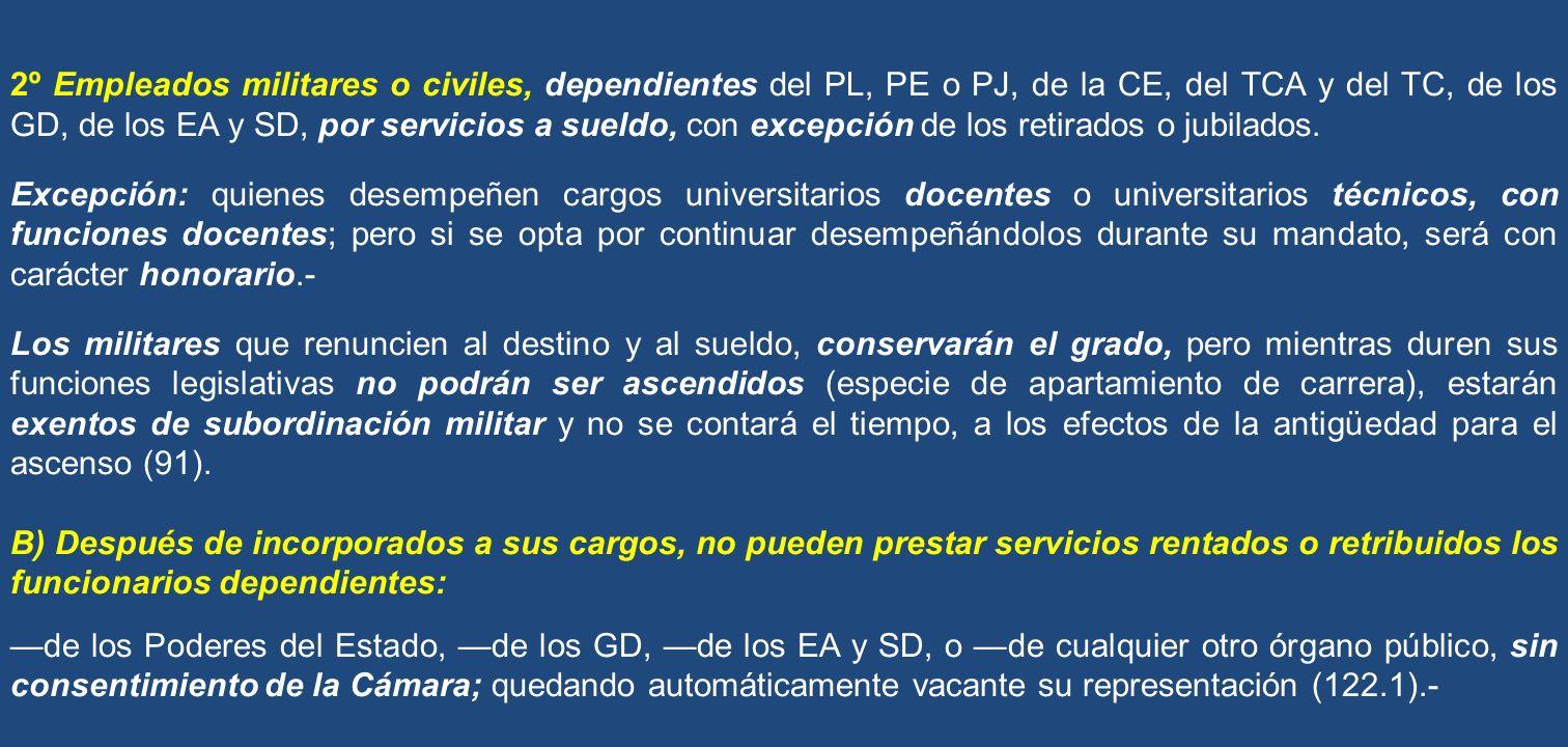 2º Empleados militares o civiles, dependientes del PL, PE o PJ, de la CE, del TCA y del TC, de los GD, de los EA y SD, por servicios a sueldo, con exc