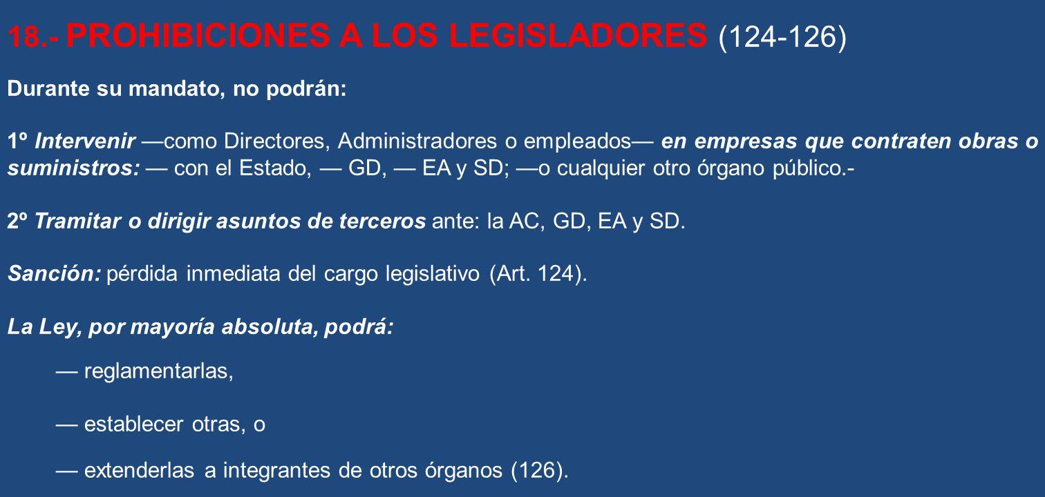 18.- PROHIBICIONES A LOS LEGISLADORES (124-126) Durante su mandato, no podrán: 1º Intervenir como Directores, Administradores o empleados en empresas