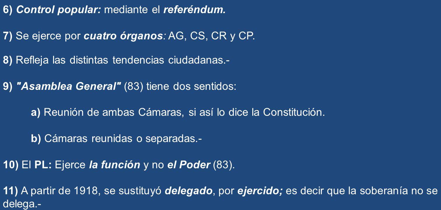 6) Control popular: mediante el referéndum. 7) Se ejerce por cuatro órganos: AG, CS, CR y CP. 8) Refleja las distintas tendencias ciudadanas.- 9)