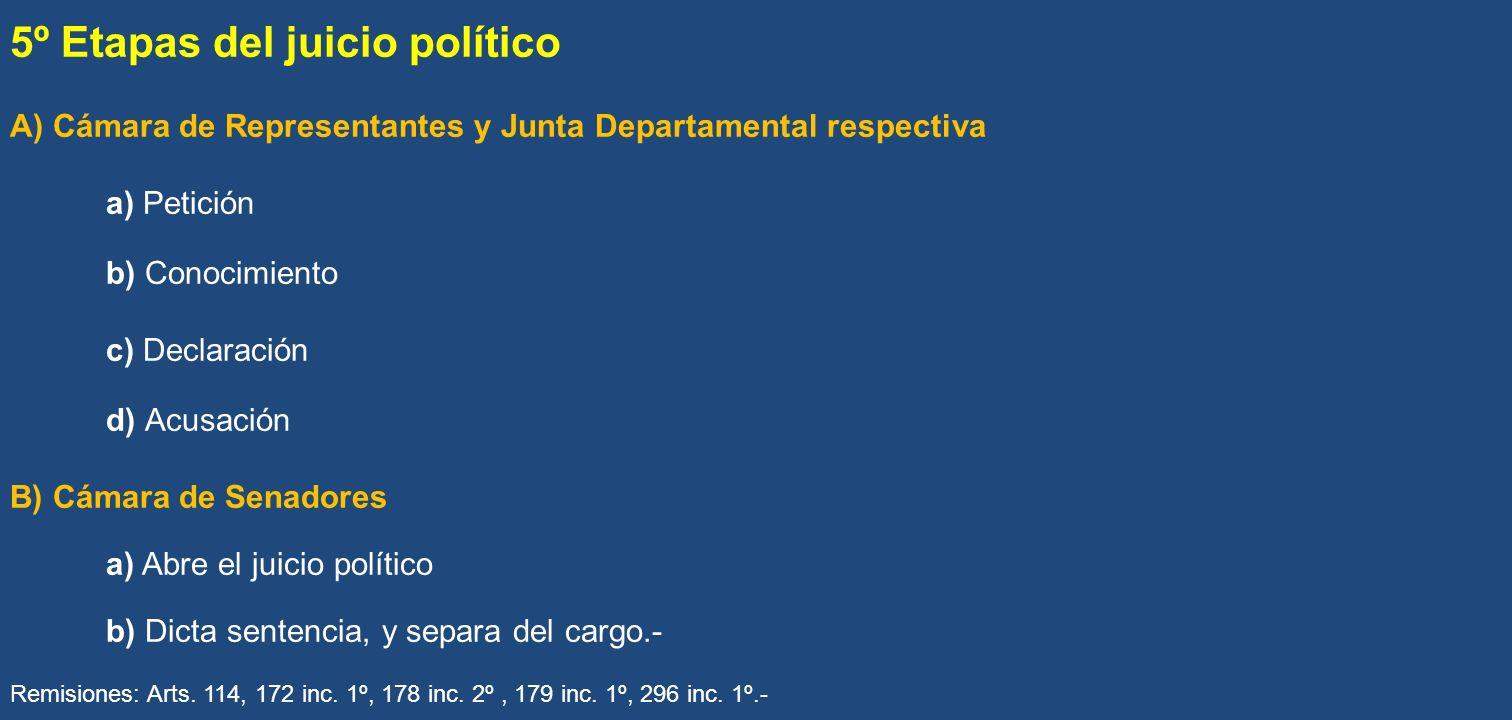 5º Etapas del juicio político A) Cámara de Representantes y Junta Departamental respectiva a) Petición b) Conocimiento c) Declaración d) Acusación B)
