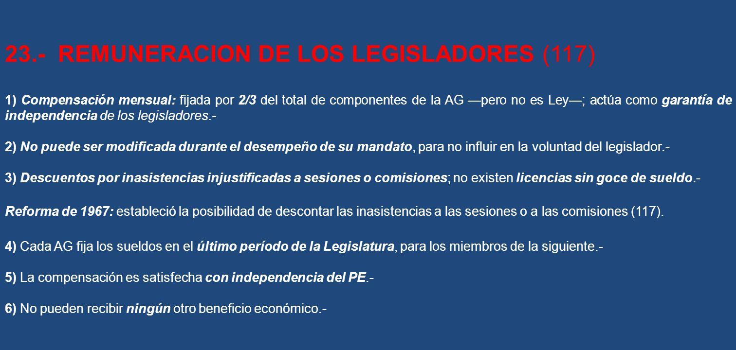 23.- REMUNERACION DE LOS LEGISLADORES (117) 1) Compensación mensual: fijada por 2/3 del total de componentes de la AG pero no es Ley; actúa como garan