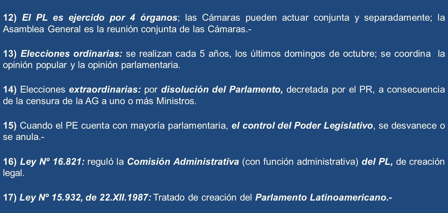 12) El PL es ejercido por 4 órganos; las Cámaras pueden actuar conjunta y separadamente; la Asamblea General es la reunión conjunta de las Cámaras.- 1