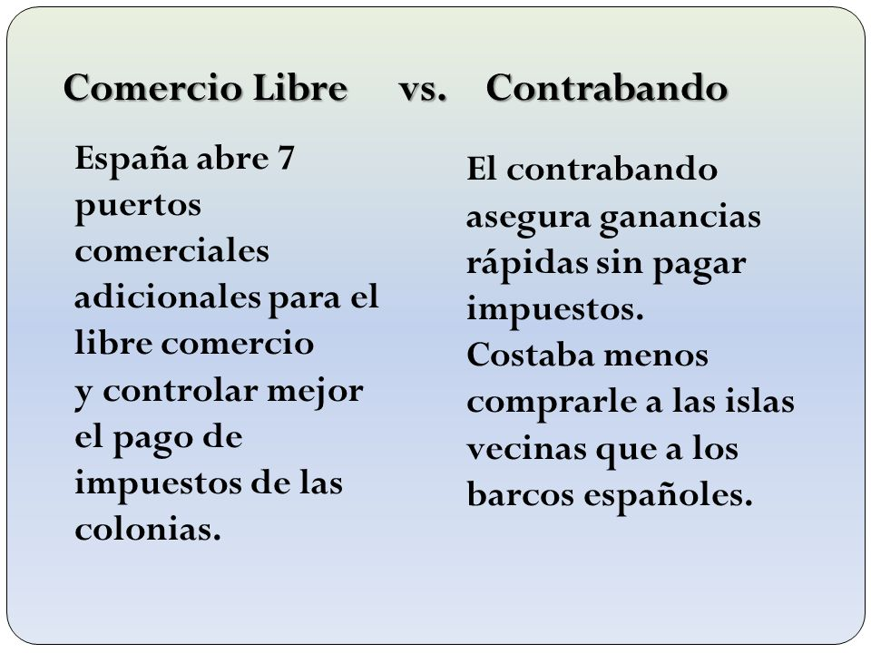 Comercio Libre vs. Contrabando España abre 7 puertos comerciales adicionales para el libre comercio y controlar mejor el pago de impuestos de las colo