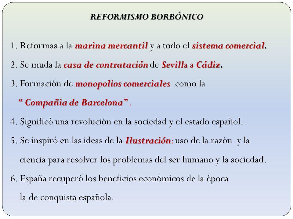 REFORMISMO BORBÓNICO marina mercantil sistema comercial. 1. Reformas a la marina mercantil y a todo el sistema comercial. casa de contratación Sevilla