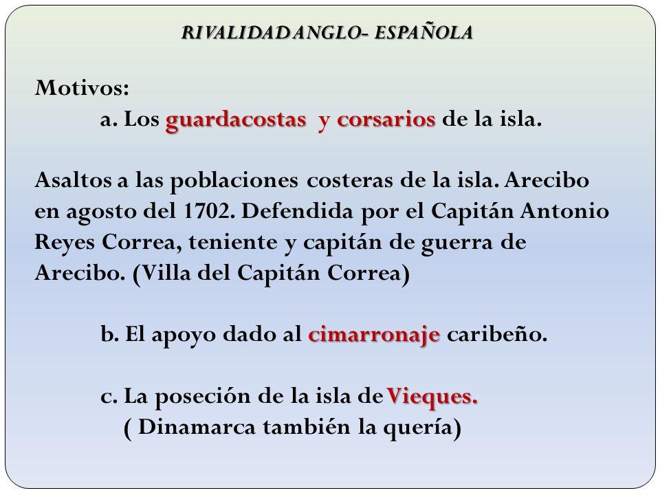 RIVALIDAD ANGLO- ESPAÑOLA Motivos: guardacostascorsarios a. Los guardacostas y corsarios de la isla. Asaltos a las poblaciones costeras de la isla. Ar