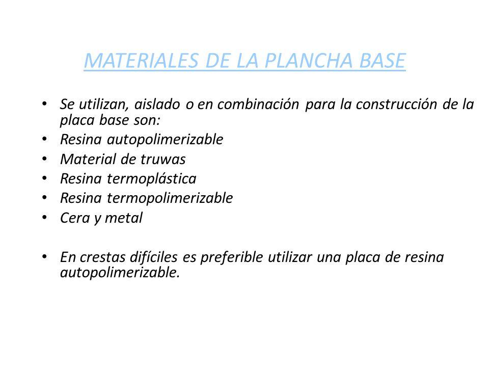 MATERIALES DE LA PLANCHA BASE Se utilizan, aislado o en combinación para la construcción de la placa base son: Resina autopolimerizable Material de tr