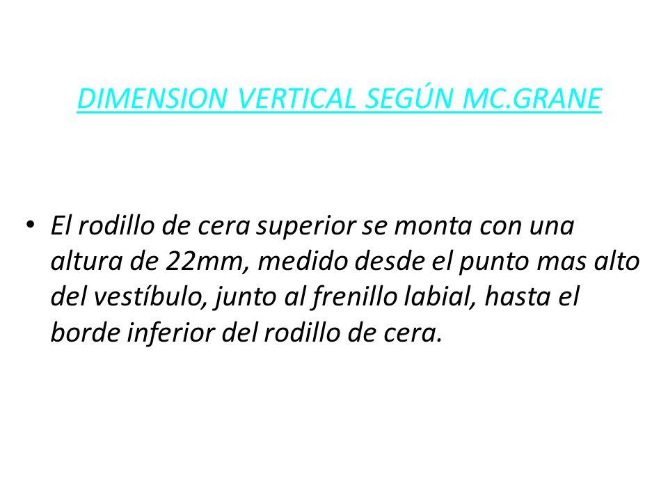 DIMENSION VERTICAL SEGÚN MC.GRANE El rodillo de cera superior se monta con una altura de 22mm, medido desde el punto mas alto del vestíbulo, junto al