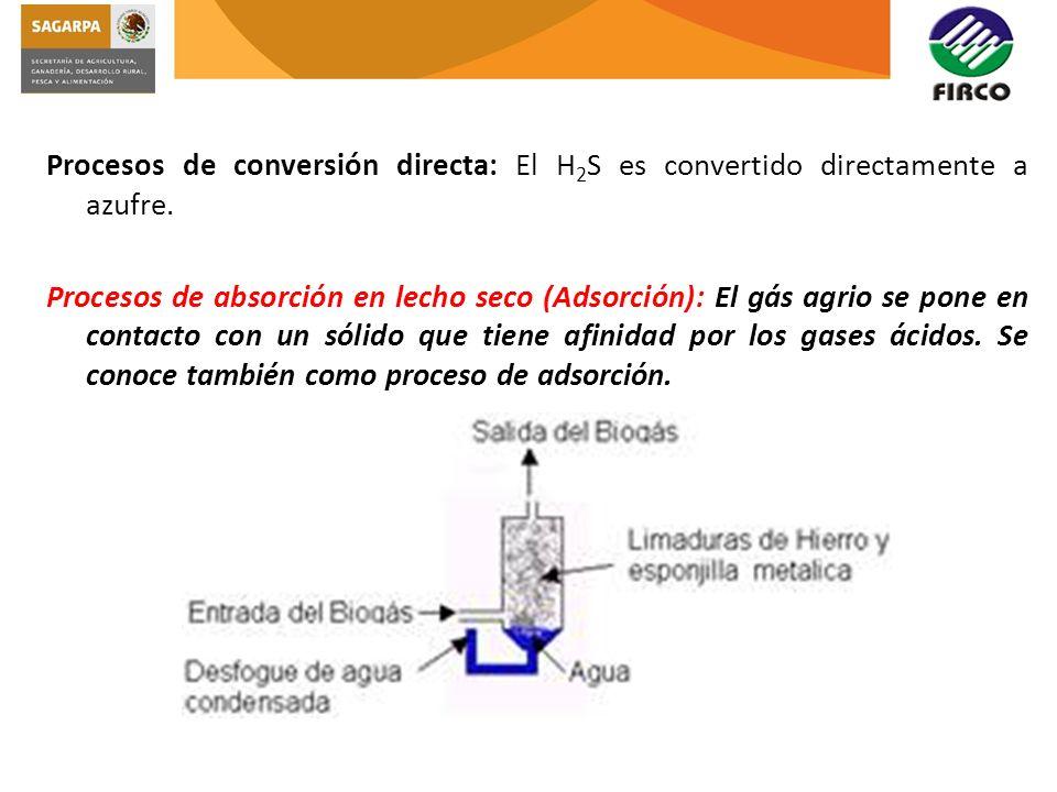 Procesos de conversión directa: El H 2 S es convertido directamente a azufre. Procesos de absorción en lecho seco (Adsorción): El gás agrio se pone en