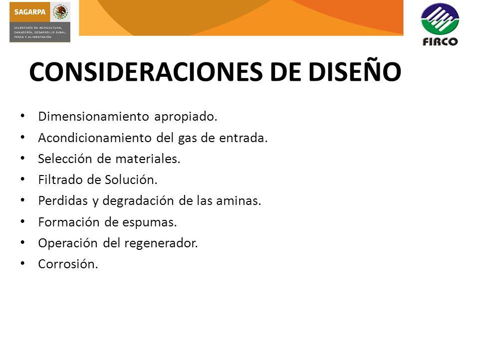 CONSIDERACIONES DE DISEÑO Dimensionamiento apropiado. Acondicionamiento del gas de entrada. Selección de materiales. Filtrado de Solución. Perdidas y