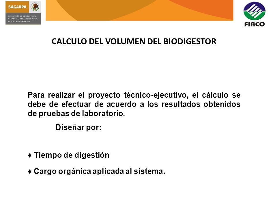 CALCULO DEL VOLUMEN DEL BIODIGESTOR Para realizar el proyecto técnico-ejecutivo, el cálculo se debe de efectuar de acuerdo a los resultados obtenidos