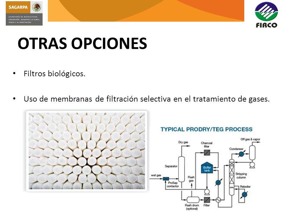 OTRAS OPCIONES Filtros biológicos. Uso de membranas de filtración selectiva en el tratamiento de gases.