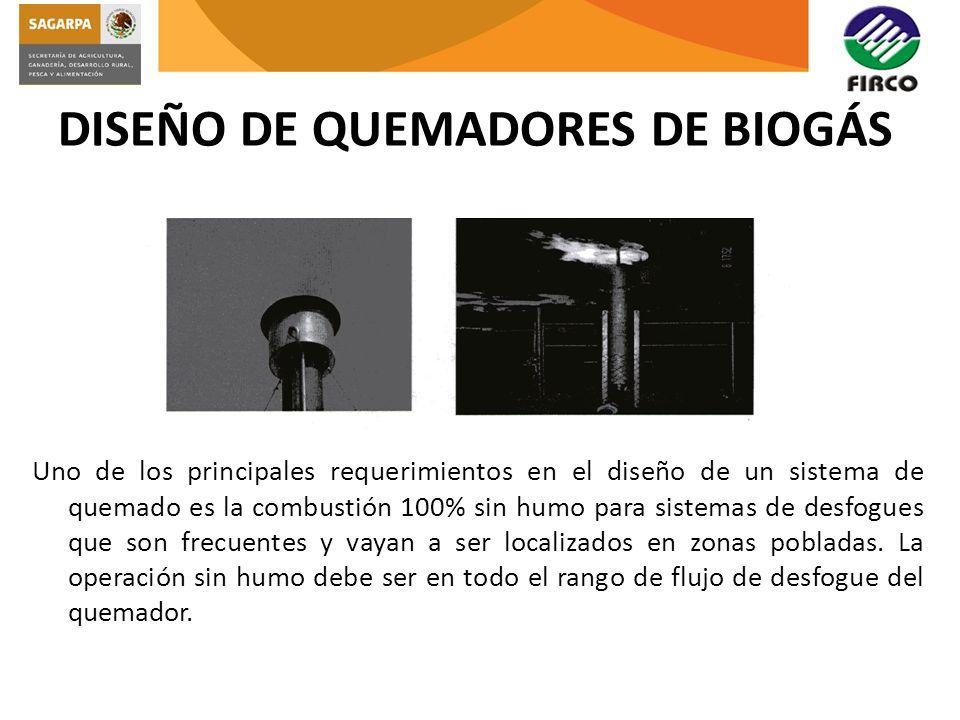 DISEÑO DE QUEMADORES DE BIOGÁS Uno de los principales requerimientos en el diseño de un sistema de quemado es la combustión 100% sin humo para sistema