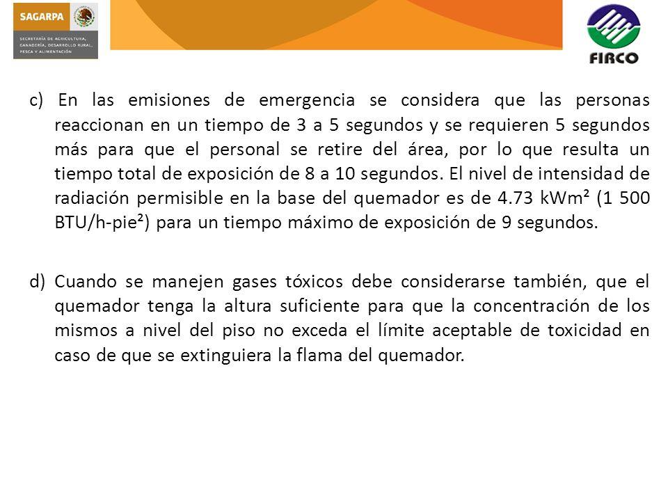 c) En las emisiones de emergencia se considera que las personas reaccionan en un tiempo de 3 a 5 segundos y se requieren 5 segundos más para que el pe