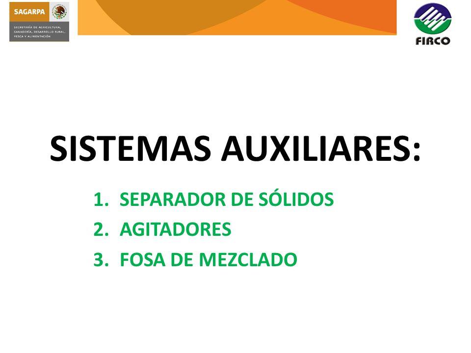 1.SEPARADOR DE SÓLIDOS 2.AGITADORES 3.FOSA DE MEZCLADO SISTEMAS AUXILIARES: