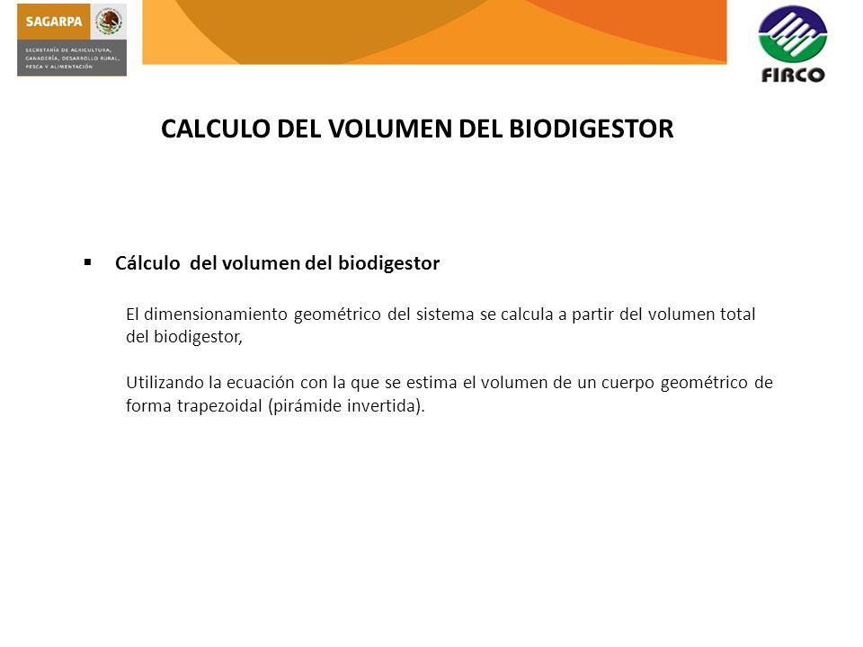 CALCULO DEL VOLUMEN DEL BIODIGESTOR Cálculo del volumen del biodigestor El dimensionamiento geométrico del sistema se calcula a partir del volumen tot