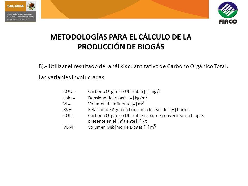 METODOLOGÍAS PARA EL CÁLCULO DE LA PRODUCCIÓN DE BIOGÁS B).- Utilizar el resultado del análisis cuantitativo de Carbono Orgánico Total. Las variables