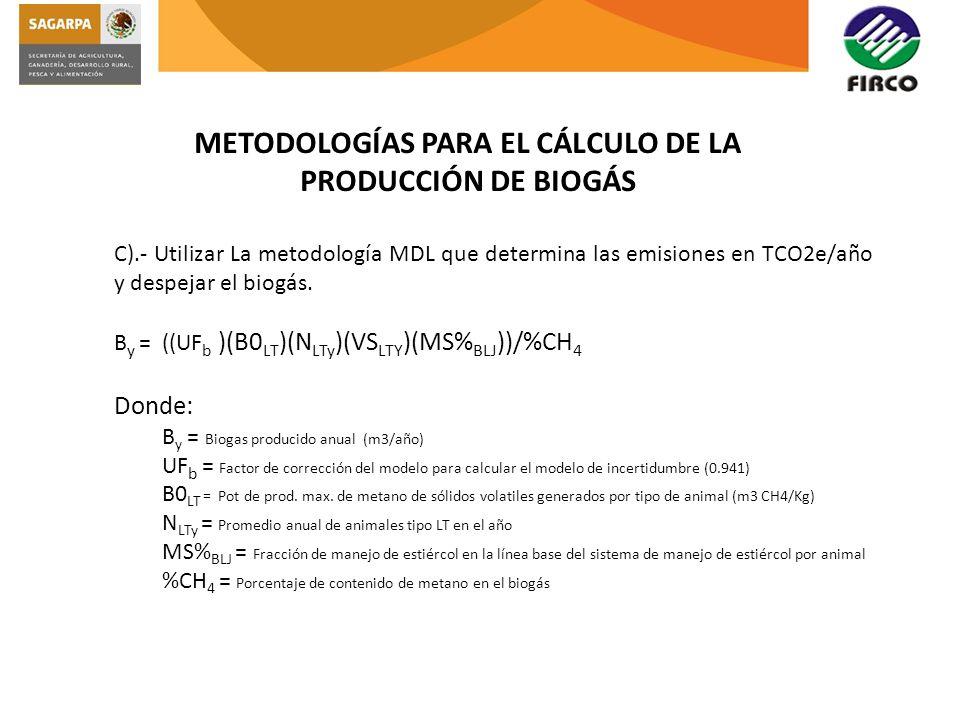 METODOLOGÍAS PARA EL CÁLCULO DE LA PRODUCCIÓN DE BIOGÁS C).- Utilizar La metodología MDL que determina las emisiones en TCO2e/año y despejar el biogás