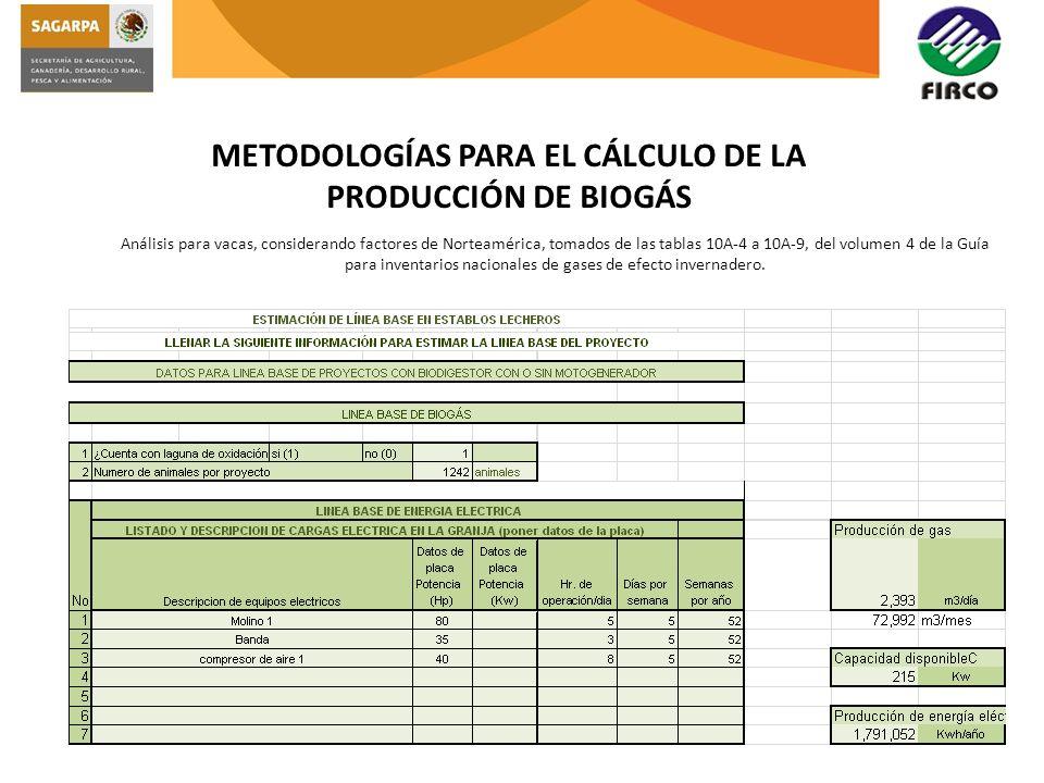 METODOLOGÍAS PARA EL CÁLCULO DE LA PRODUCCIÓN DE BIOGÁS Análisis para vacas, considerando factores de Norteamérica, tomados de las tablas 10A-4 a 10A-