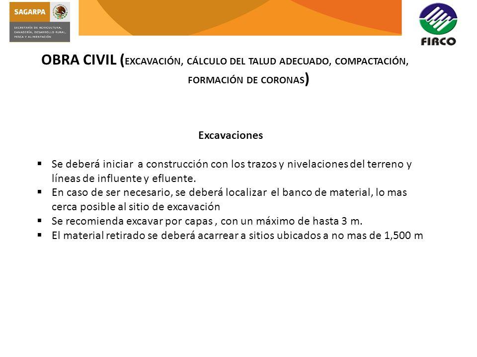 OBRA CIVIL ( EXCAVACIÓN, CÁLCULO DEL TALUD ADECUADO, COMPACTACIÓN, FORMACIÓN DE CORONAS ) Excavaciones Se deberá iniciar a construcción con los trazos